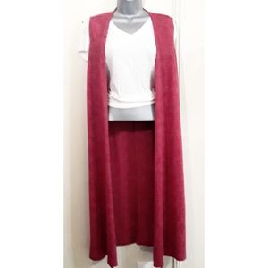 LuLaRoe Joy Duster Kimono Vest knit Magenta